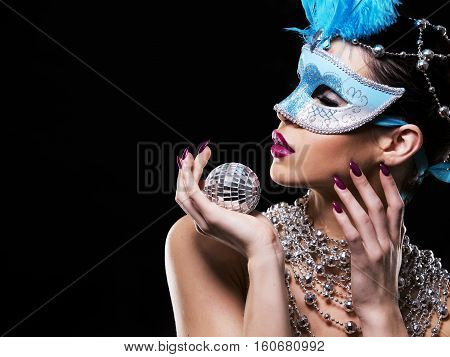 Disco Woman Wearing Silver Accessories On Black Backgound