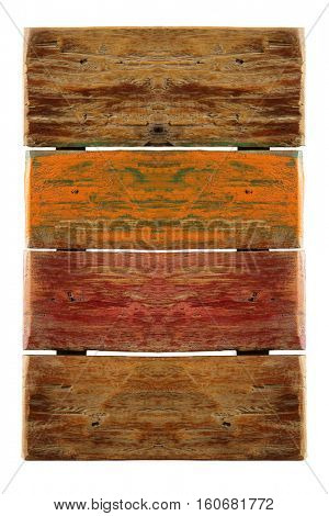 Wooden plans used for advertisement isolated on white background