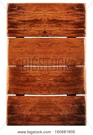 wooden plank used for advertisement isolated on white background