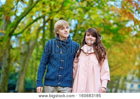 Young Dating Couple In Paris On A Bright Fall Day