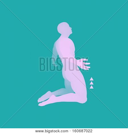 3D Model of Man. Man who prays. Concept for Religion, Worship, Love and Spirituality. Vector Illustration.