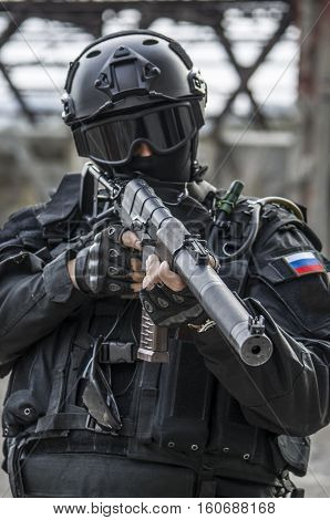 Russian Special Forces Training At A Military Training Ground.