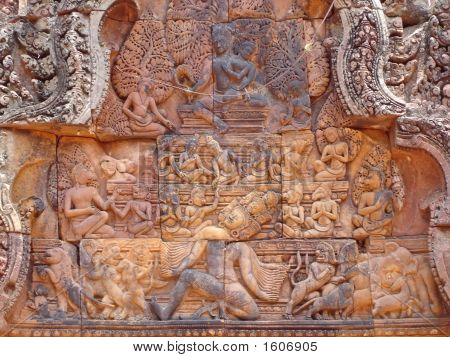 Detail Of Khmer Stone Carving For The Ramayana Story Legend, Preah Ko, Angkor Temples, Cambodgia