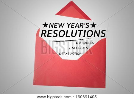 List of new year resolution goals in a red envelope against white background