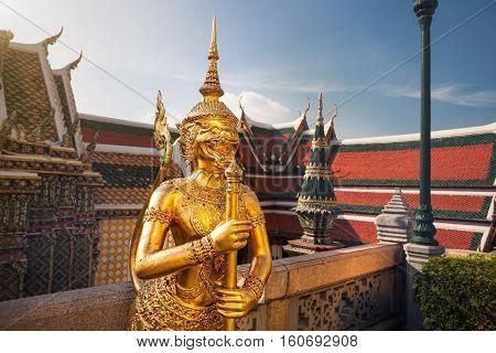 Wat Phra Kaew In Bangkok At Sunset