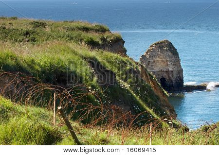 View on Pointe du Hoc, where Rangers climbed the rocks during the invasion in WWII in Normandy, France