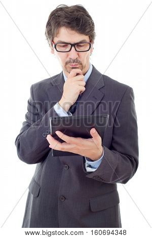 businessman with a tablet pc, isolated