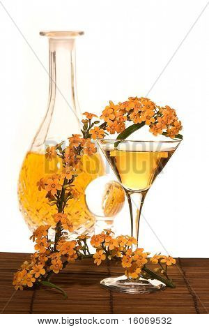 Golden cocktail decorated with poisonous euphorbia fulgens flowers