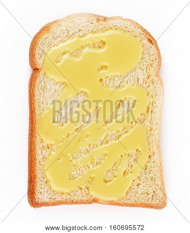 Bread sweetened milk isolated on white background