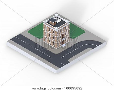 A small house with three floors and a perspective view of part of the urban area with the road, sidewalks and lawns. 3d rendering