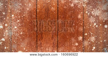 Snow against wooden plank