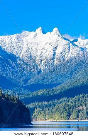 Two Snow Mountains Vancouver British Columbia Pacific Northwest.