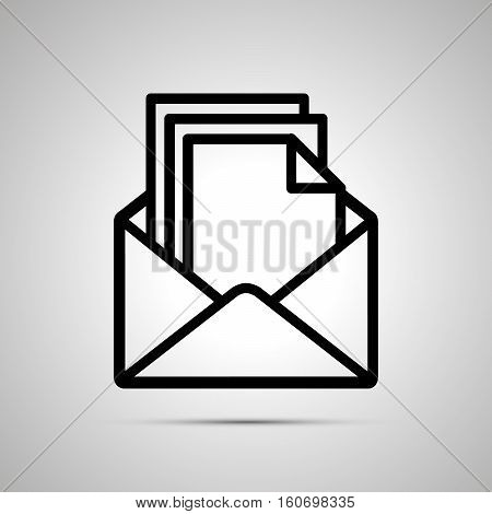 Simple black icon of open envelope with pile of documents inside with shadow on light background
