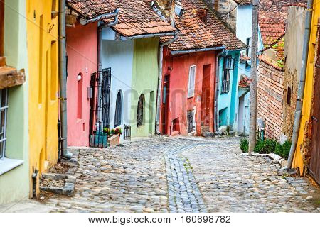 Medieval street view in Sighisoara in Romania