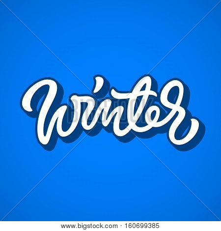 White winter brushpen lettering, graffiti style italic calligraphy with outline and 3d block blended shade for logo, design concepts, banners, labels, prints, posters, stickers. Vector illustration.