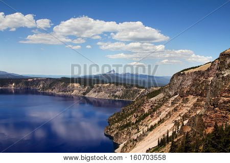 A beautiful landscape shot of the Crater Lake in Oregon, US. Shot at the Crater Lake National Park.