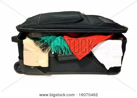 Overstuffed Suitcase On White Background