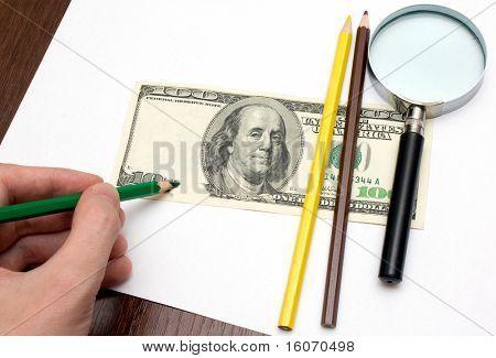 Someone draw dollar by pencils