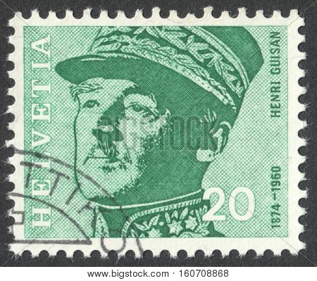 MOSCOW RUSSIA - CIRCA NOVEMBER 2016: a post stamp printed in SWITZERLAND shows a portrait of Henri Guisan (1874-1960) the general the series