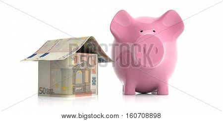 3D Rendering Pink Piggy Bank And A Euros House