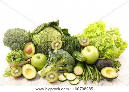 raw green vegetable and fruit