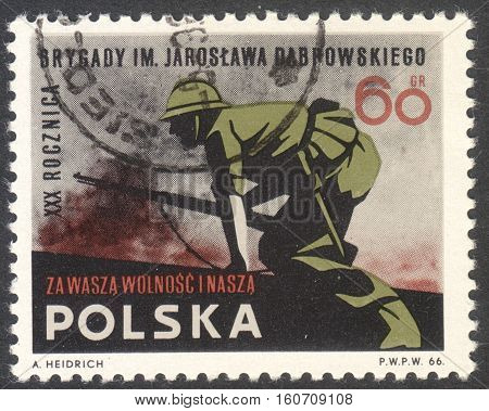 MOSCOW RUSSIA - CIRCA NOVEMBER 2016: a post stamp printed in POLAND dedicated to the 30th Anniversary of the Start of the International Brigade in Spain circa 1966