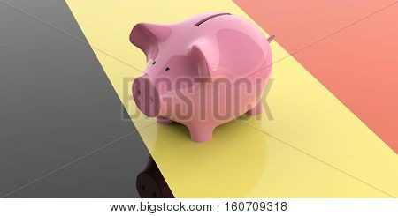 3D Rendering Pink Piggy Bank On Belgium Flag