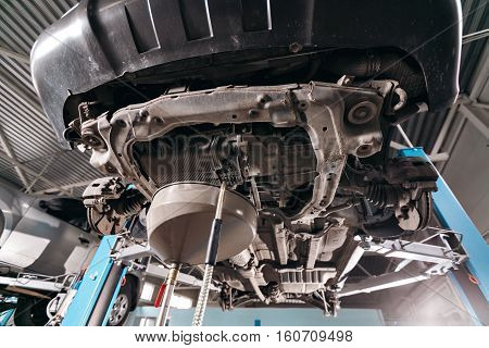 Change engine oil. working underneath a lifted car.