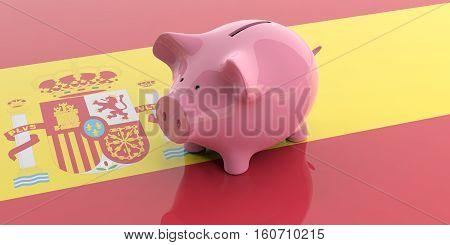 3D Rendering Pink Piggy Bank On Spain Flag