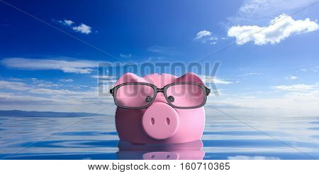 3D Rendering Piggy Bank Wearing Eyeglasses