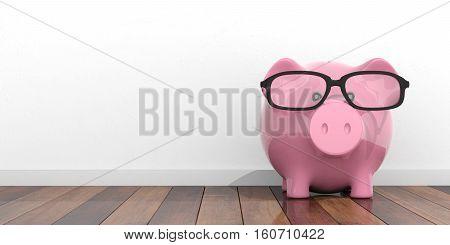 3D Rendering Pink Piggy Bank On Wooden Floor