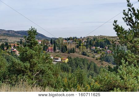 Panoramic view of autumn with villages Plana in the mountain Plana by Vitosha, Bulgaria
