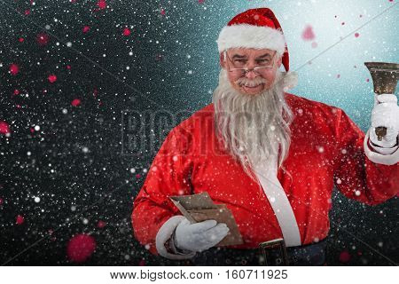 Santa Claus holding envelopes and bell against snow with red flakes