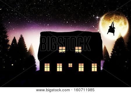 Rear view of Santa Claus riding on sled against full moon over snowy landscape