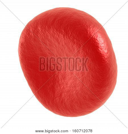 Red blood cell. 3d render isolated on white. Healthcare and medical zoom concept.