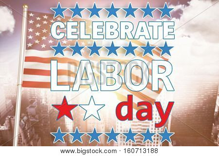 Celebrate labor day text and stars against aerial view of a city on a cloudy day