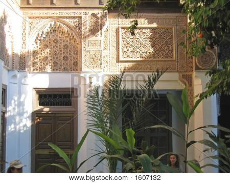 Oriental Architecture With Azulejos And Painted Stuc On A Patio With An Orange Tree, Bahia Palace, M