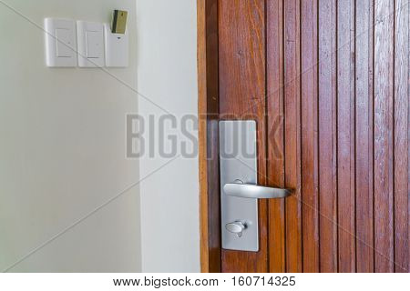 Close up of Wood door
