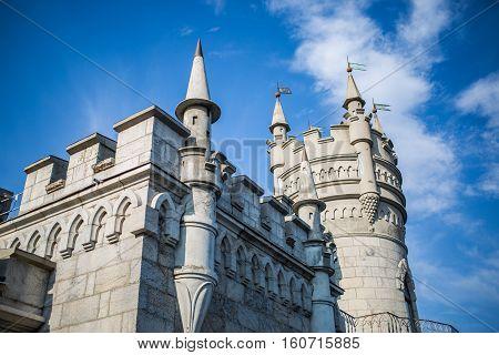 The decorative Neo-Gothic castle Swallow's Nest on the rock over the Black Sea. Gaspra. Crimea