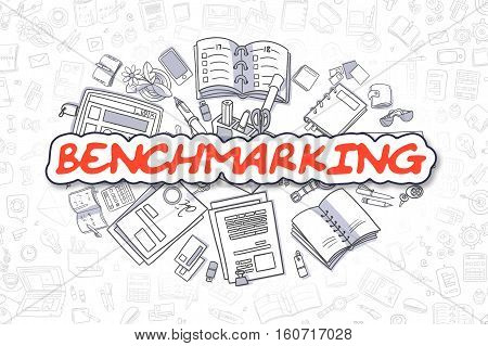 Business Illustration of Benchmarking. Doodle Red Text Hand Drawn Cartoon Design Elements. Benchmarking Concept.
