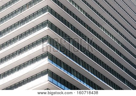 exterior of glass residential building office .