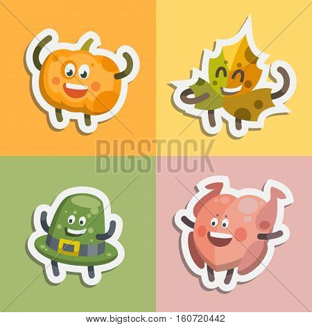 Vector illustration emoticons emoji stickers set on theme of autumn holiday. Autumn emoticons happy thanksgiving day. Different emotions funny pumpkin windy leaf delicious turkey smiling hat.