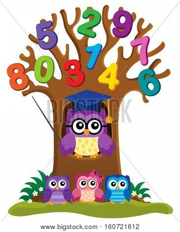 Tree with stylized school owl theme 4 - eps10 vector illustration.