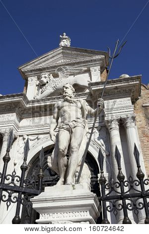 Venetian Arsenal renaissance portal with statue of Neptune made at the end of 17th century