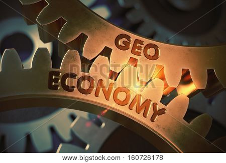 Geo Economy on the Mechanism of Golden Cog Gears with Glow Effect. Geo Economy Golden Metallic Cog Gears. 3D Rendering.