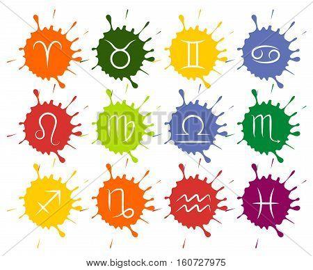 Set of vector Zodiac signs colorful paint drops. Zodiac sign on splash paint illustration