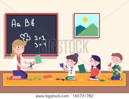 Kindergarten teacher teaching math to her small pupils. Kids learning mathematics. Smiling characters. Modern flat vector illustration clipart.