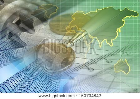 Financial background with money table map and pen.
