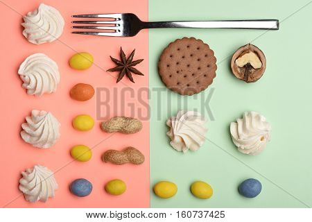 Cookies, Marshmallow And Silver Fork
