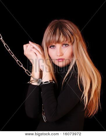 Girl with chain on hands